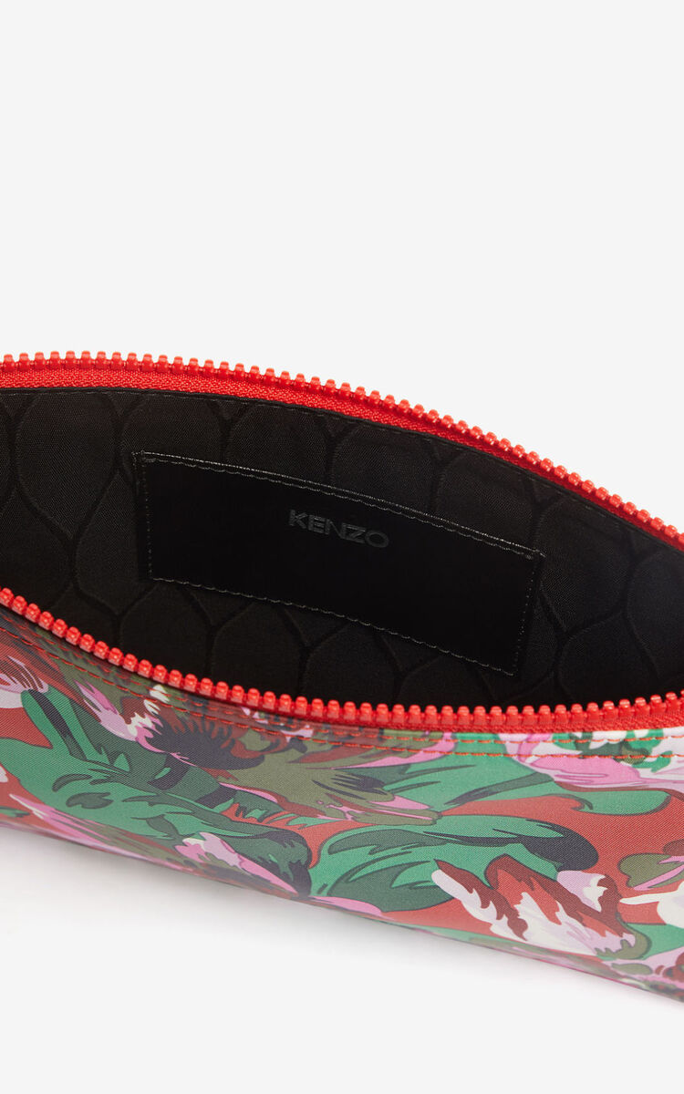 MEDIUM RED A4 'Tulipes' clutch for unisex KENZO