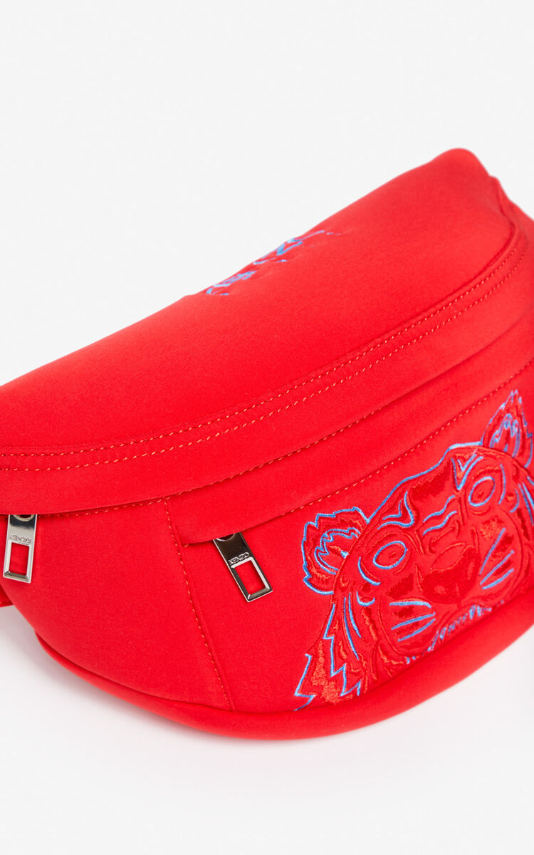 MEDIUM RED Neoprene Tiger bumbag for unisex KENZO