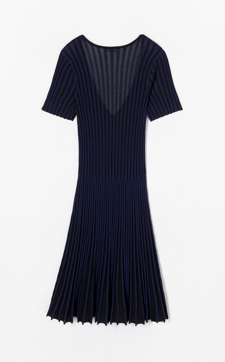 BLACK Two-toned pleated dress for women KENZO