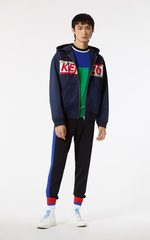 NAVY BLUE KENZO hooded blouson jacket for men