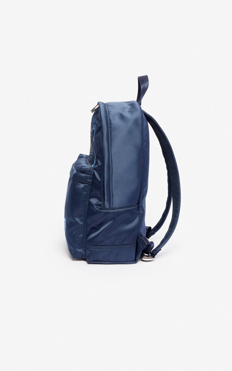 116af017336a4a MIDNIGHT BLUE Large satin Tiger backpack 'Holiday Capsule' for unisex KENZO