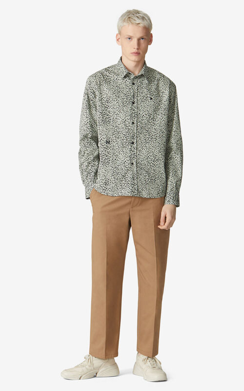 DARK BEIGE Cropped trousers for men KENZO