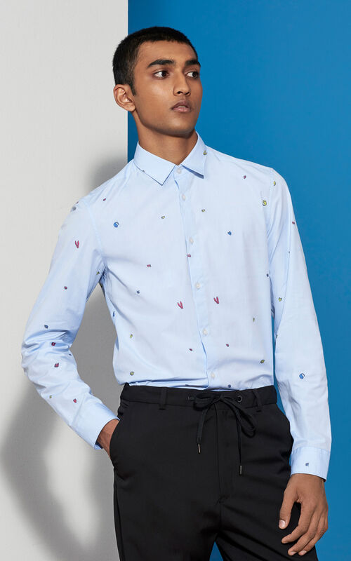 SKY BLUE Charms Slim Fit Shirt for men KENZO