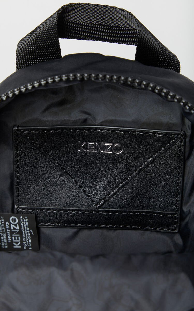 BLACK KENZO Logo mini backpack for men