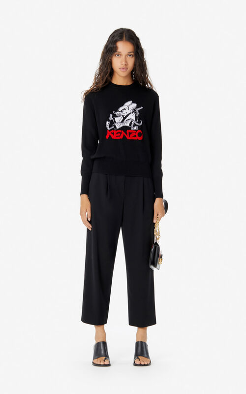 BLACK 'Kung Fu Rat' jumper for women KENZO