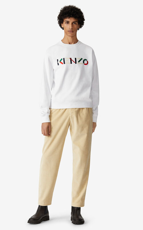 WHITE KENZO Logo multicoloured sweatshirt for men