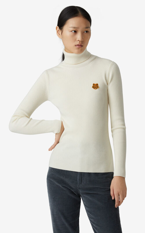 ECRU Tiger Crest roll-neck jumper for women KENZO