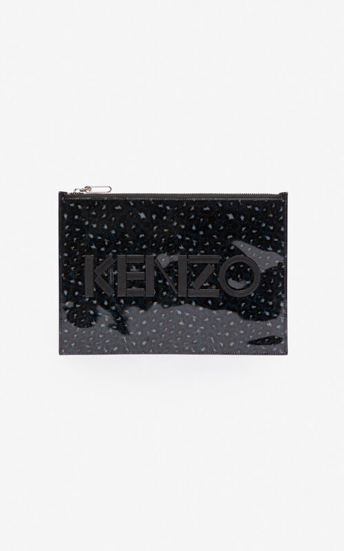 MIDNIGHT BLUE A4 KENZO Logo Leopard clutch for men
