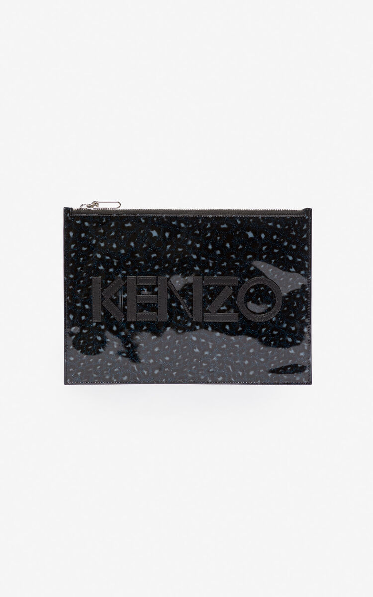 MIDNIGHT BLUE A4 KENZO Logo Leopard clutch for women