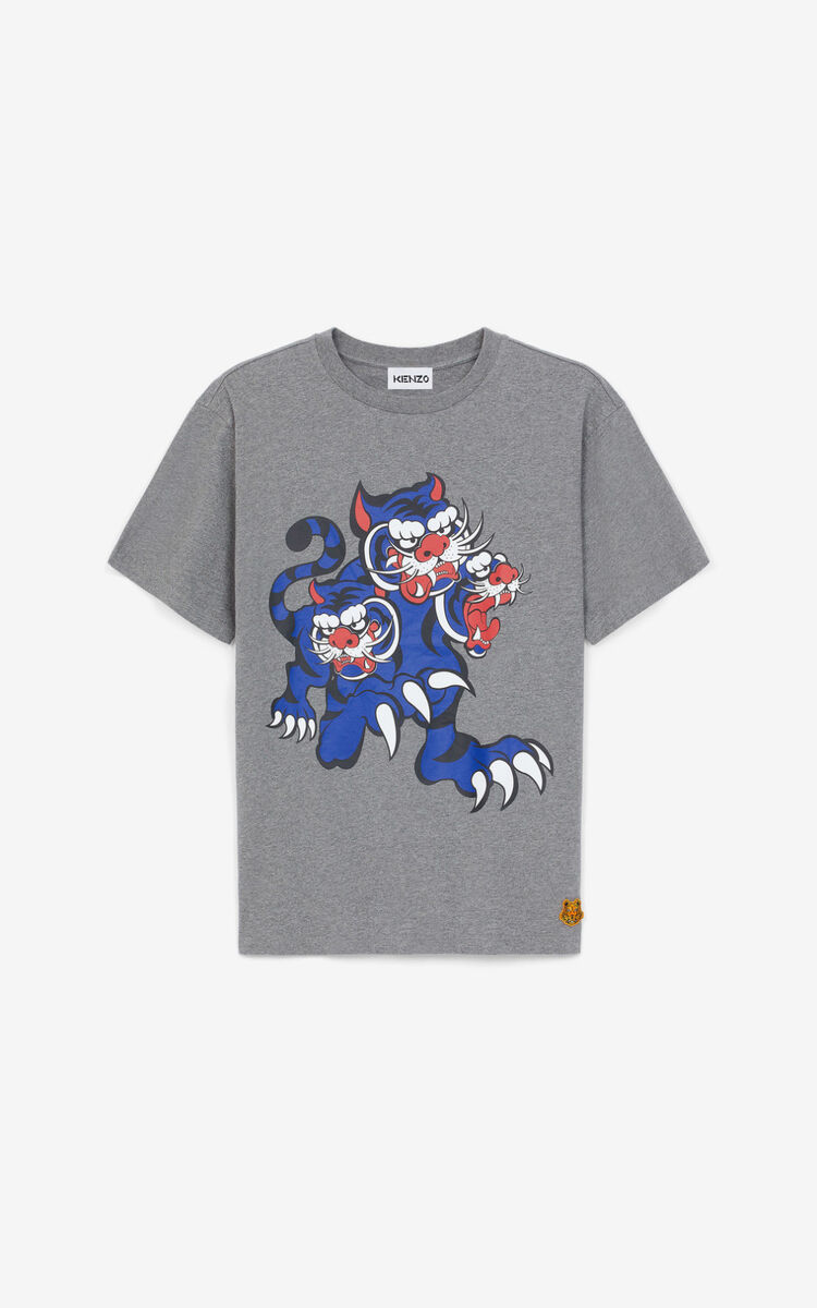DOVE GREY KENZO x KANSAIYAMAMOTO 'Three Tigers' T-shirt for men