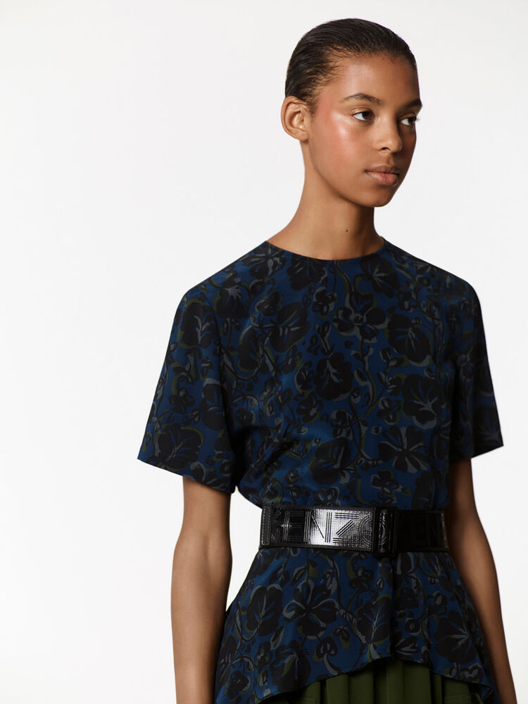 'Floral Leaf' Peplum Top, DEEP SEA BLUE, KENZO