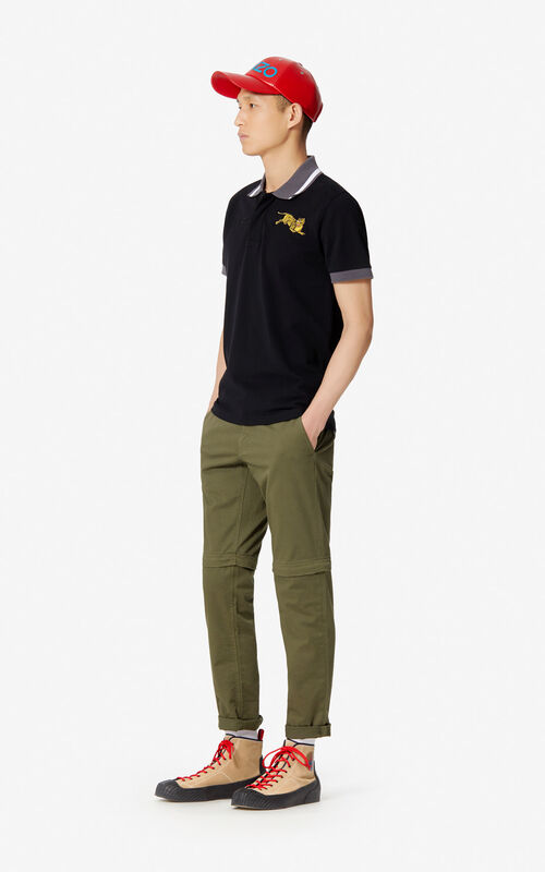 BLACK 'Jumping Tiger' fitted polo shirt for men KENZO