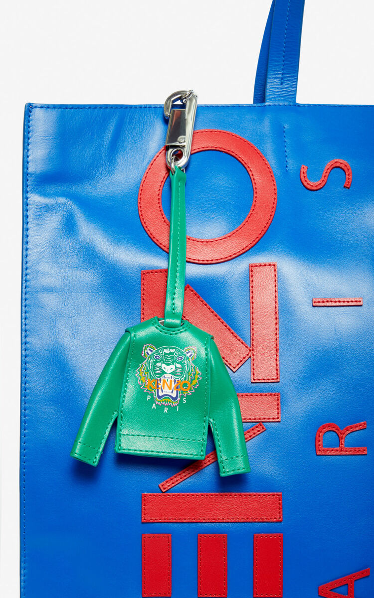 GRASS GREEN Tiger sweatshirt leather bag charm for unisex KENZO