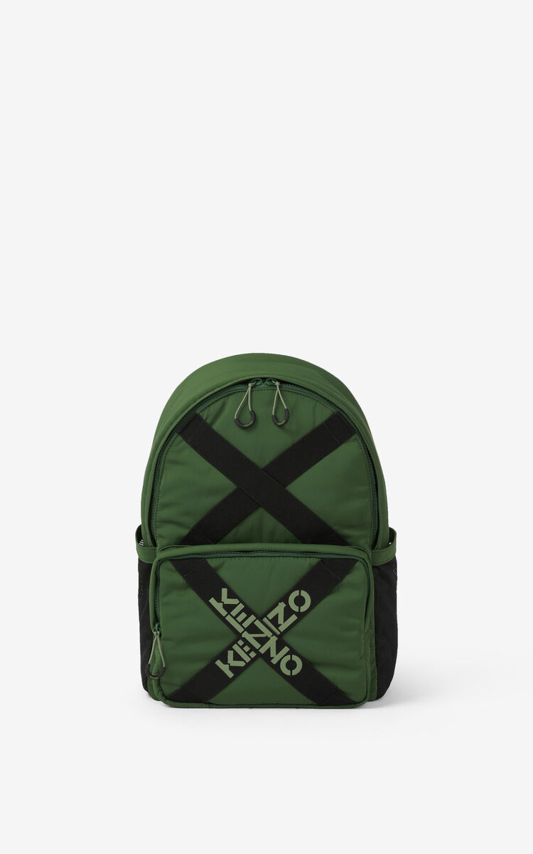 DARK KHAKI KENZO Sport backpack for men