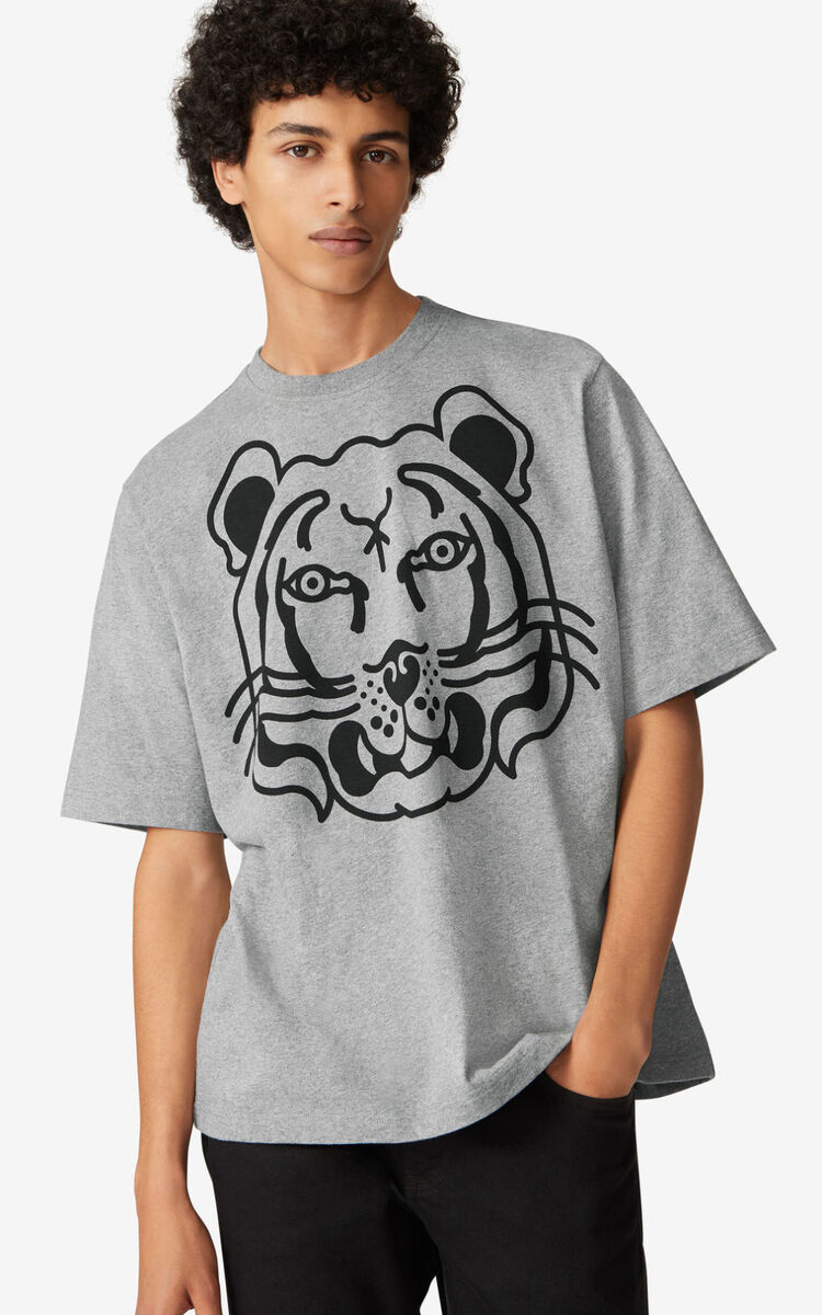 PEARL GREY K-Tiger oversized T-shirt for unisex KENZO