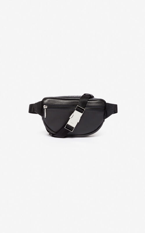 BLACK Mini leather 'Kampus' Tiger bumbag for unisex KENZO