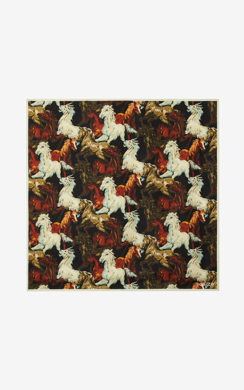 BLACK 'Chevaux KENZO' silk square for unisex