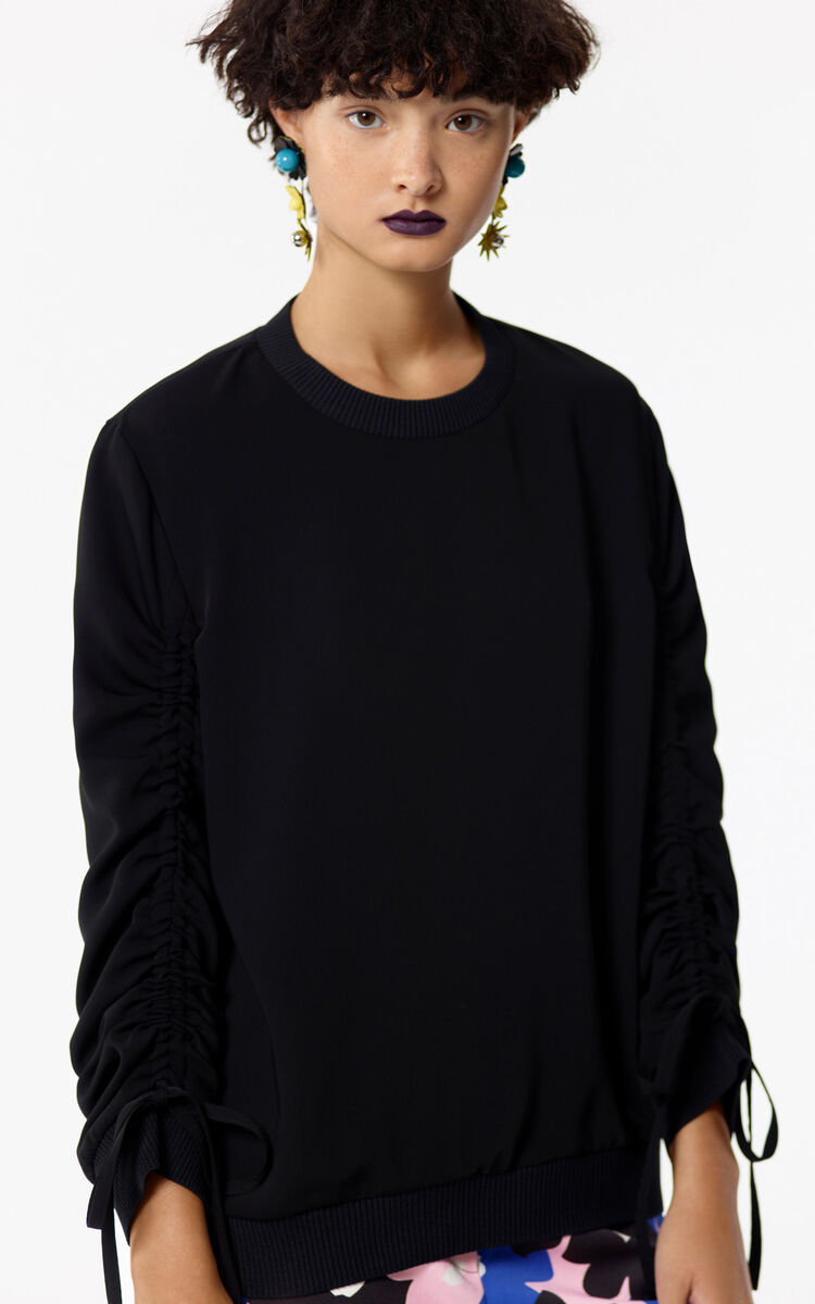 BLACK 'Hyper KENZO' sweatshirt with gathered sleeves for women