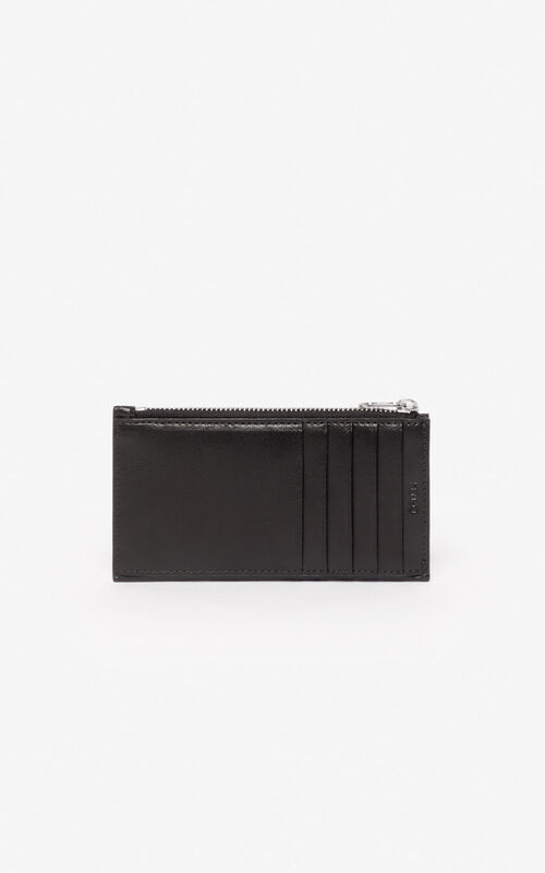 BLACK 'Kung Fu Rat' zipped card case for unisex KENZO
