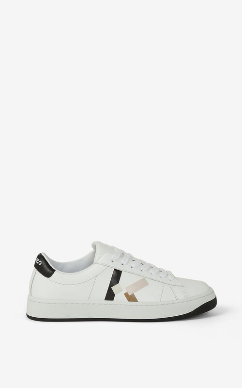 FADED PINK KENZO Kourt 'K Logo' leather trainers for unisex