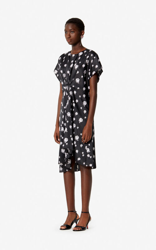 BLACK 'Roses' asymmetric dress for women KENZO
