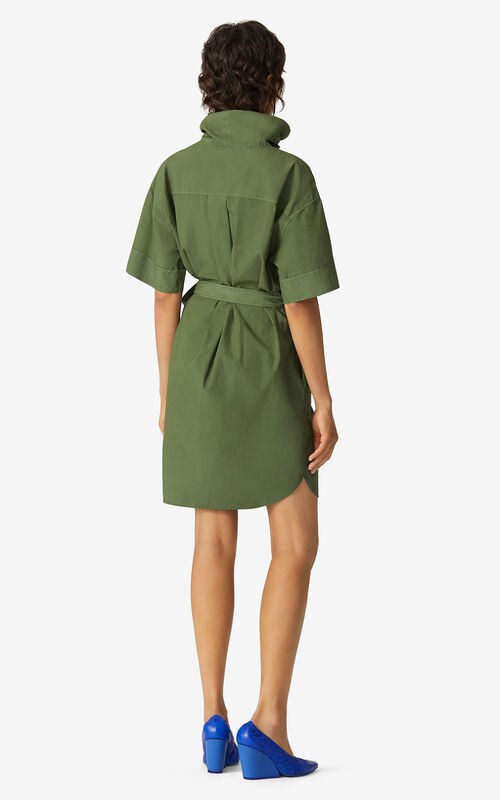 DARK KHAKI Belted tunic dress for women KENZO