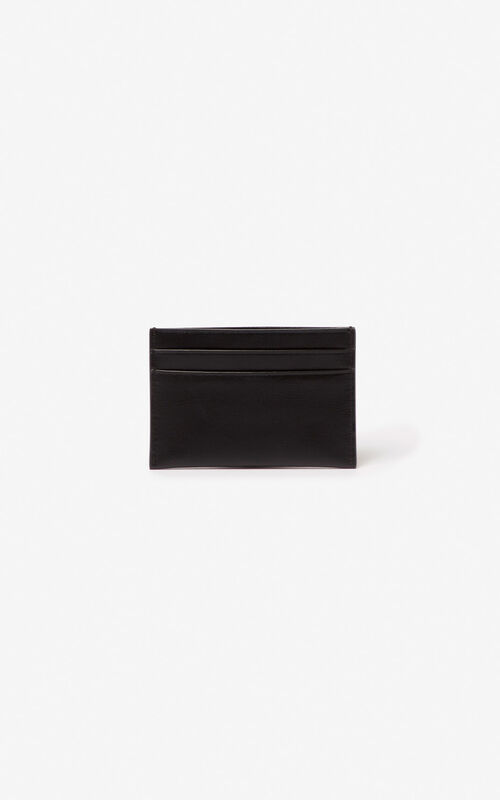BLACK KENZO logo leather card holder for men