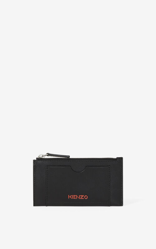 BLACK KENZO Cadet zipped leather card holder for men