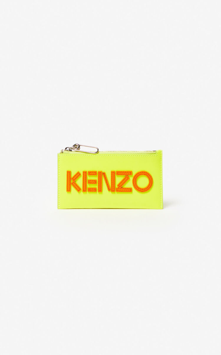 LEMON KENZO Logo leather card holder for unisex