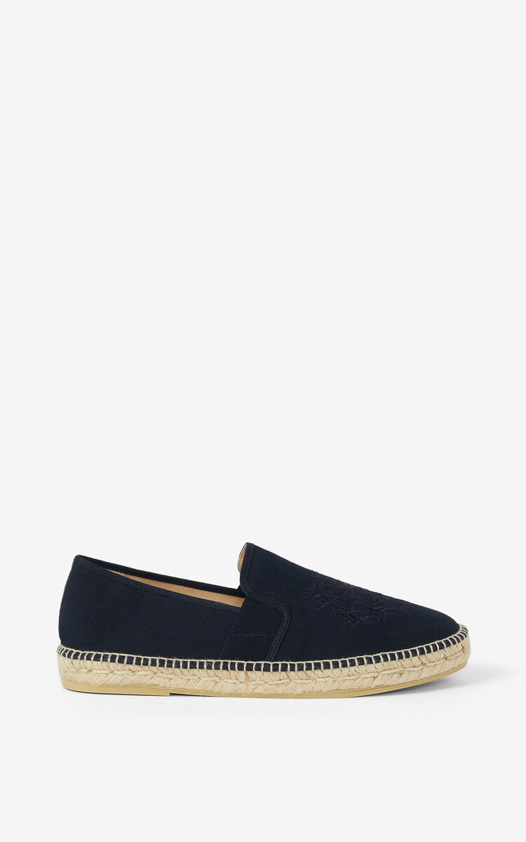 NAVY BLUE Tiger stretch canvas espadrilles for women KENZO