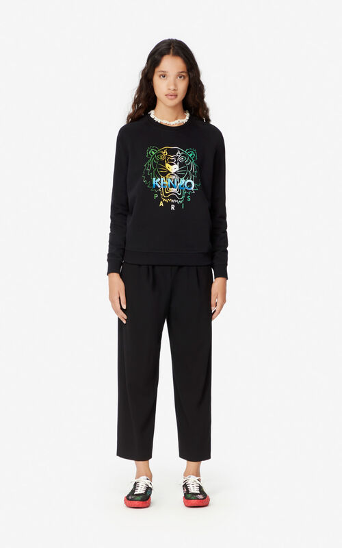 BLACK 'Wet Tiger' sweatshirt for women KENZO