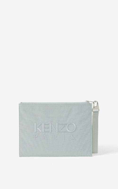 GREY GREEN Large canvas Kampus Tiger pouch for unisex KENZO