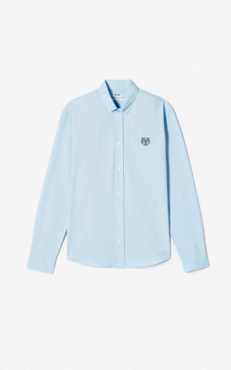 LIGHT BLUE Tiger Oxford shirt for men KENZO