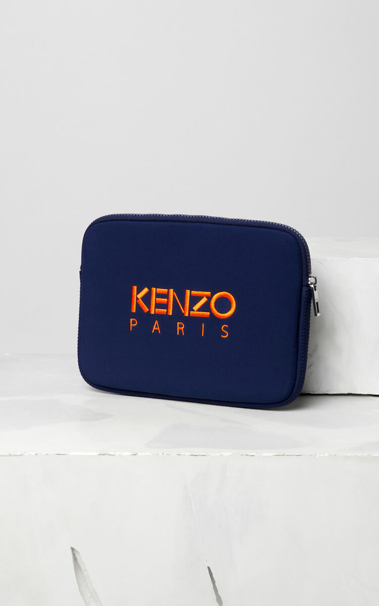 NAVY BLUE Tiger tablet pouch for men KENZO