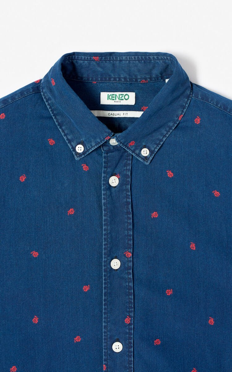 MIDNIGHT BLUE 'Roses' casual shirt for men KENZO