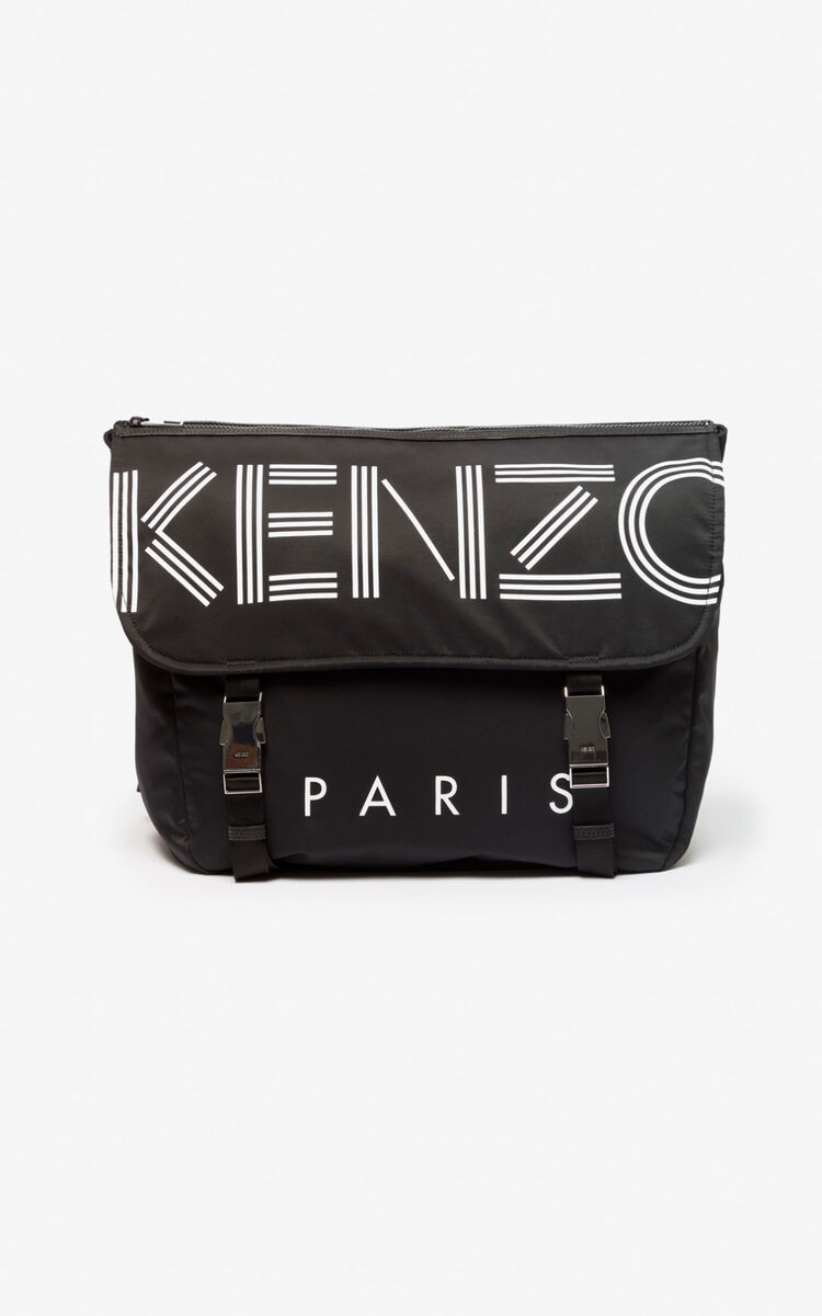 BLACK KENZO logo messenger bag for unisex
