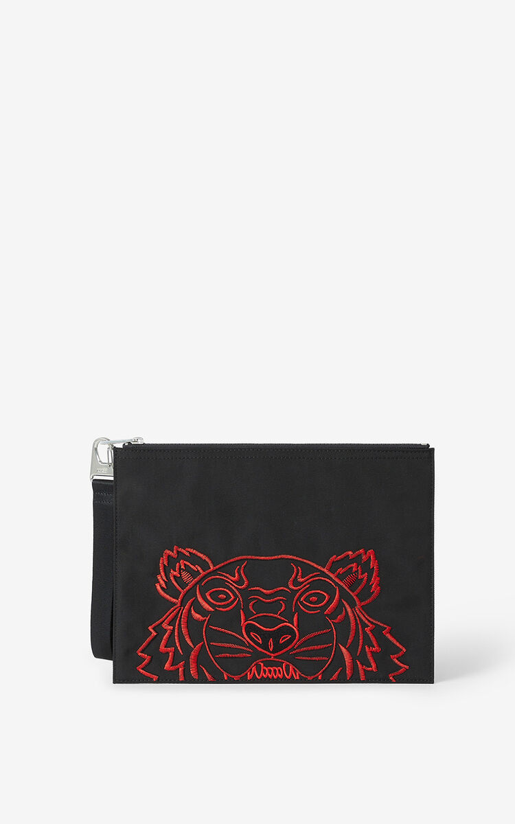 BLACK  Kampus Tiger large clutch for unisex KENZO