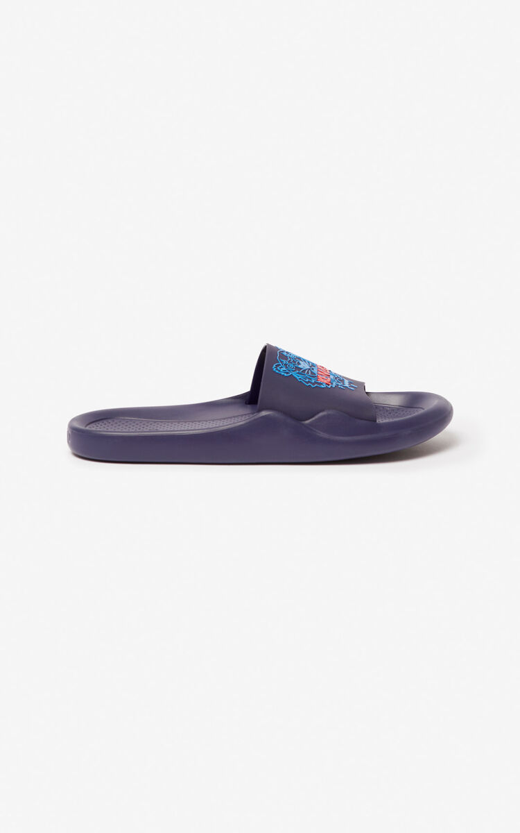 MIDNIGHT BLUE Tiger pool mules for unisex KENZO