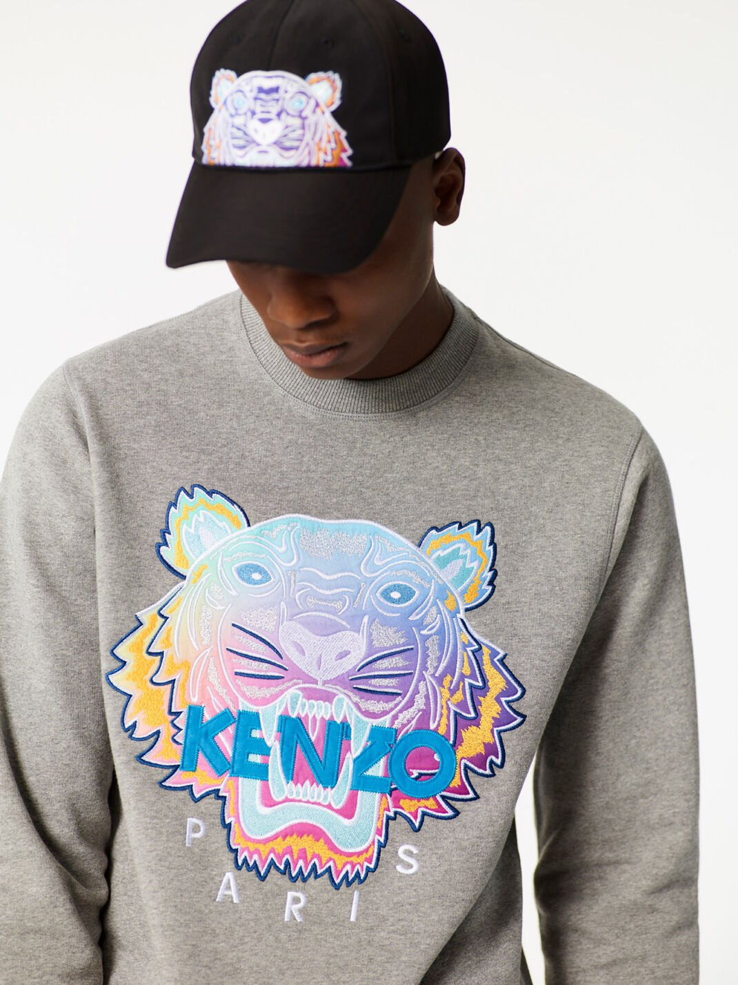 DOVE GREY 'Rainbow' Tiger Sweatshirt for women KENZO