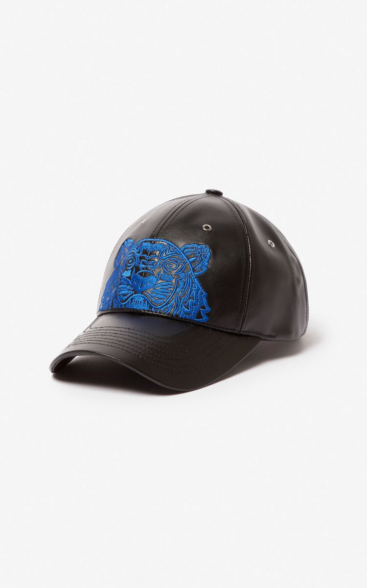 BLACK Tiger leather cap for women KENZO