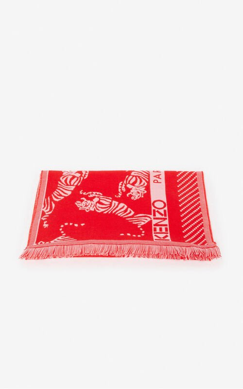 MEDIUM RED Jumping Tiger' wool scarf for unisex KENZO