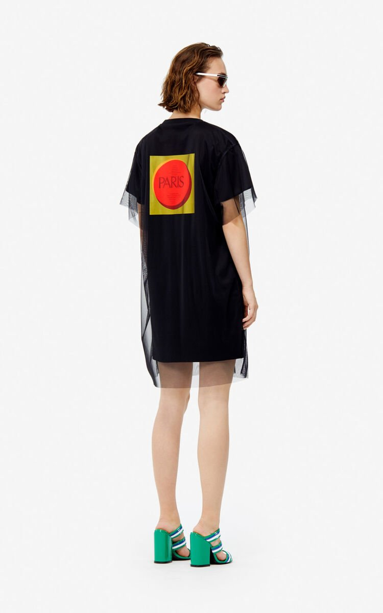BLACK 'Square Logo' T-shirt dress for women KENZO