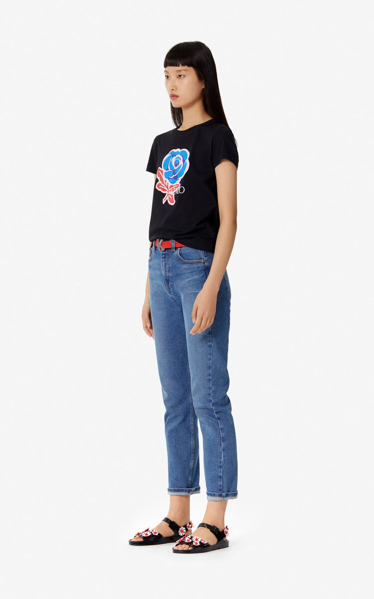 BLACK 'Roses' T-shirt for women KENZO