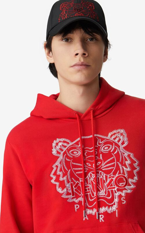 MEDIUM RED  Tiger hooded sweatshirt for men KENZO