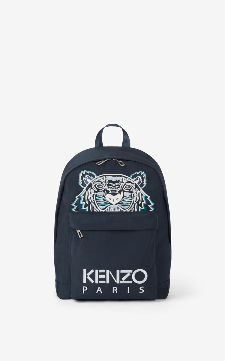 MIDNIGHT BLUE Canvas Kampus Tiger backpack for unisex KENZO