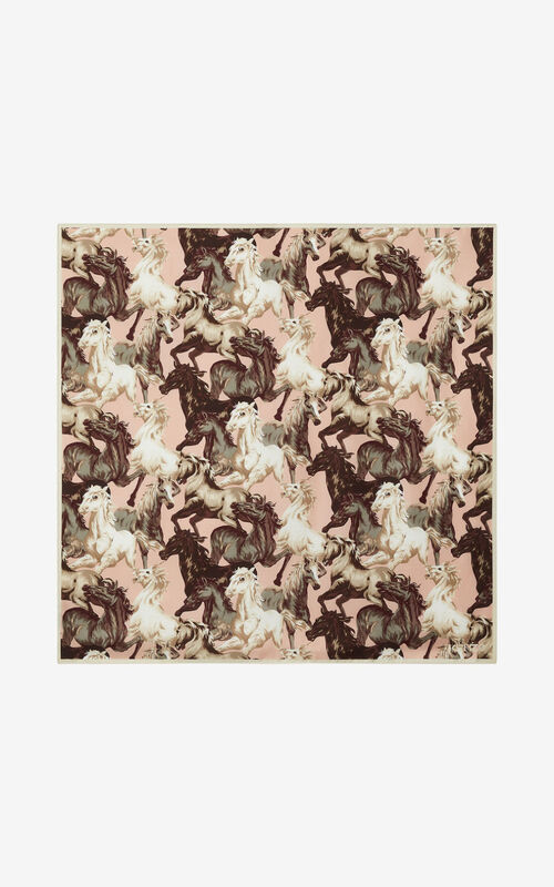 FADED PINK 'Chevaux KENZO' silk square for women
