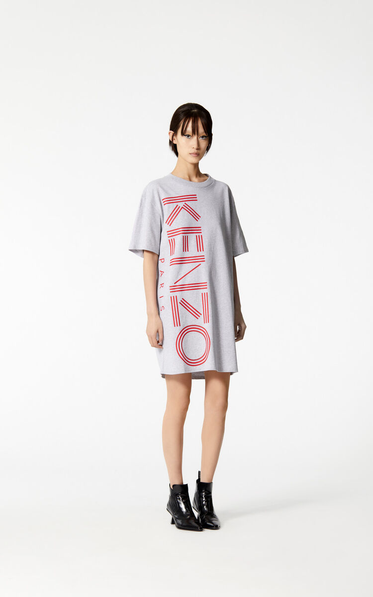 PALE GREY KENZO Logo t-shirt dress for women