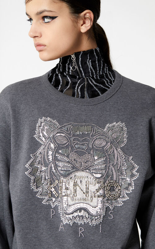 DARK GREY Handmade Embroidered Tiger sweatshirt for women KENZO