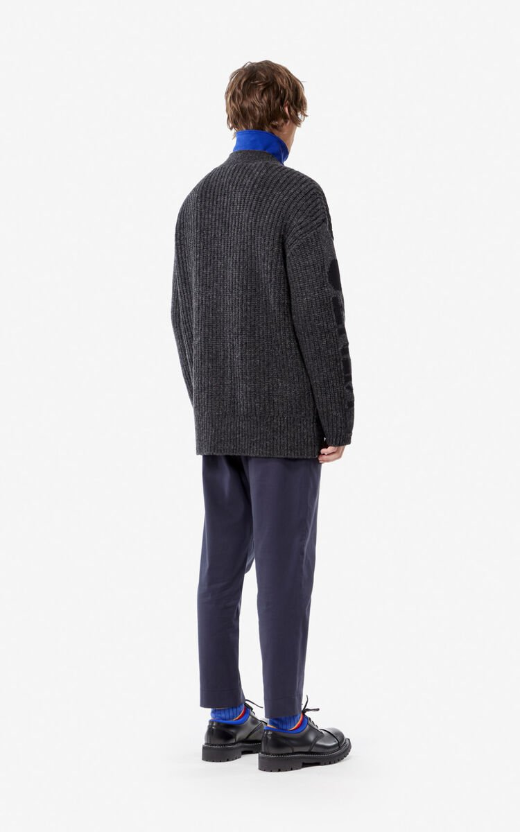 ANTHRACITE KENZO zipped cardigan for men
