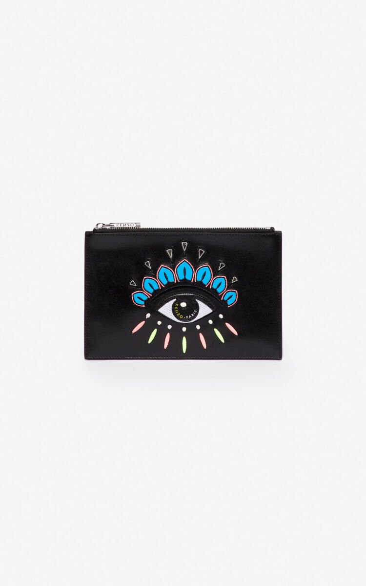 BLACK A5 Eye leather clutch for unisex KENZO